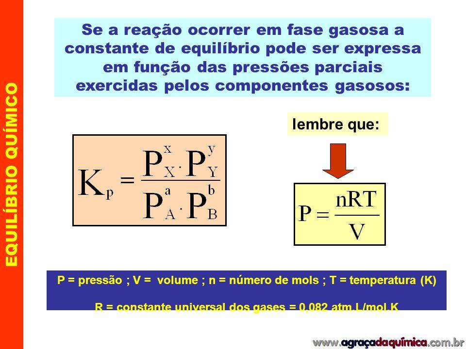 EQUILÍBRIO QUÍMICO Equilíbrio químico em reações gasosas Considere a formação da amônia, que ocorre em fase gasosa, num balão de volume V, em certa temperatura T sendo que cada gás exerce uma pressão parcial P x N 2(g) + 3H 2(g) 2 NH 3(g) A pressão de cada gás pode ser calculada a partir da expressão: P = n x R T / V onde: n x / V = [X] logo: P = [X] R T [X] = molaridade ; R = constante dos gases e T = temperatura absoluta (K)