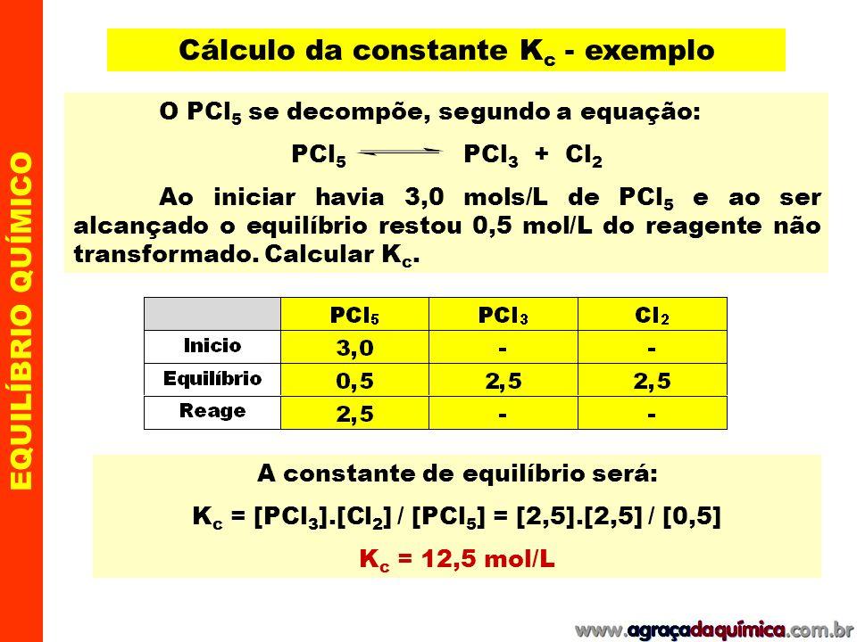 EQUILÍBRIO QUÍMICO Se a reação ocorrer em fase gasosa a constante de equilíbrio pode ser expressa em função das pressões parciais exercidas pelos componentes gasosos: lembre que: P = pressão ; V = volume ; n = número de mols ; T = temperatura (K) R = constante universal dos gases = 0,082 atm.L/mol.K