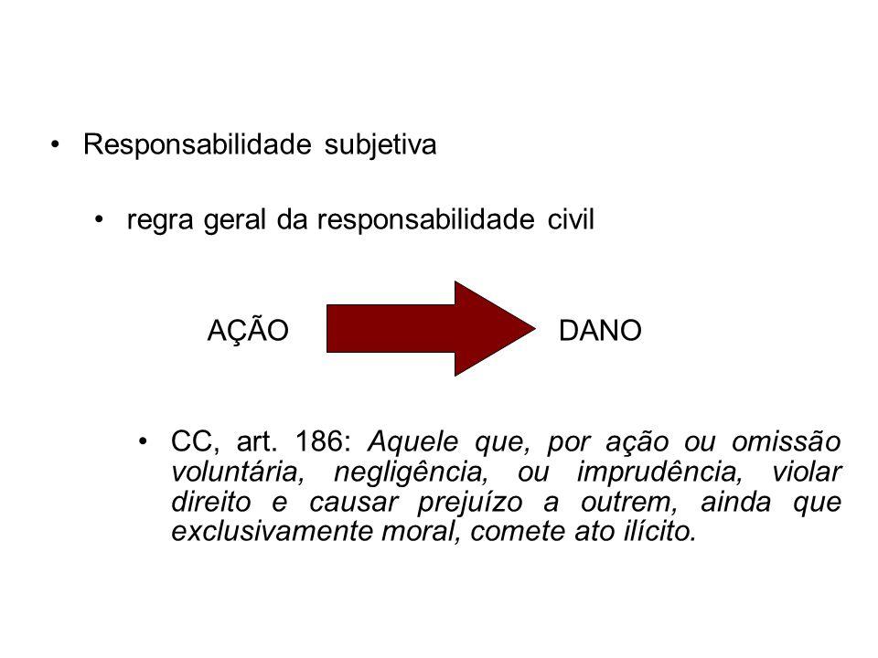 Responsabilidade subjetiva regra geral da responsabilidade civil AÇÃODANO CC, art. 186: Aquele que, por ação ou omissão voluntária, negligência, ou im