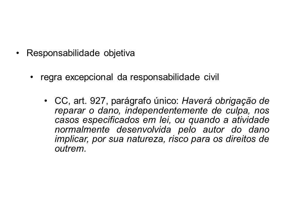 Responsabilidade objetiva regra excepcional da responsabilidade civil CC, art. 927, parágrafo único: Haverá obrigação de reparar o dano, independentem