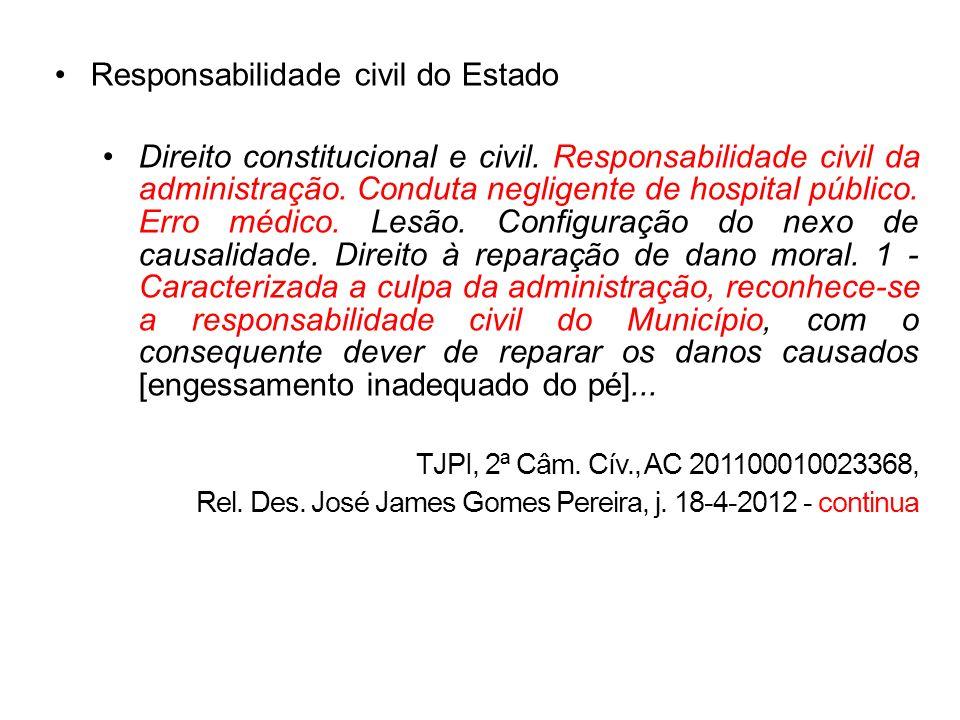 Responsabilidade civil do Estado Direito constitucional e civil. Responsabilidade civil da administração. Conduta negligente de hospital público. Erro