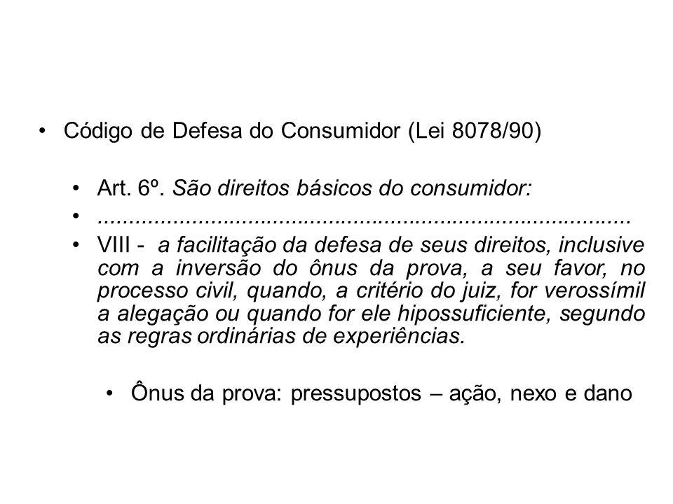 Código de Defesa do Consumidor (Lei 8078/90) Art. 6º. São direitos básicos do consumidor:.............................................................