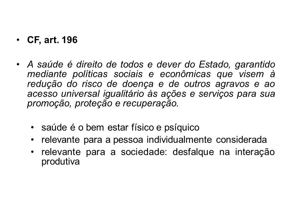 CF, art. 196 A saúde é direito de todos e dever do Estado, garantido mediante políticas sociais e econômicas que visem à redução do risco de doença e