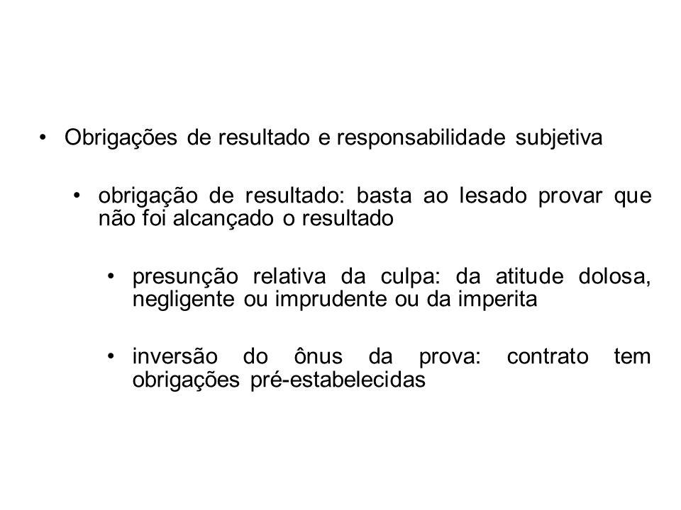 Obrigações de resultado e responsabilidade subjetiva obrigação de resultado: basta ao lesado provar que não foi alcançado o resultado presunção relati