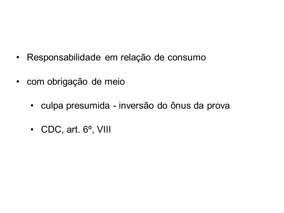 Responsabilidade em relação de consumo com obrigação de meio culpa presumida - inversão do ônus da prova CDC, art. 6º, VIII
