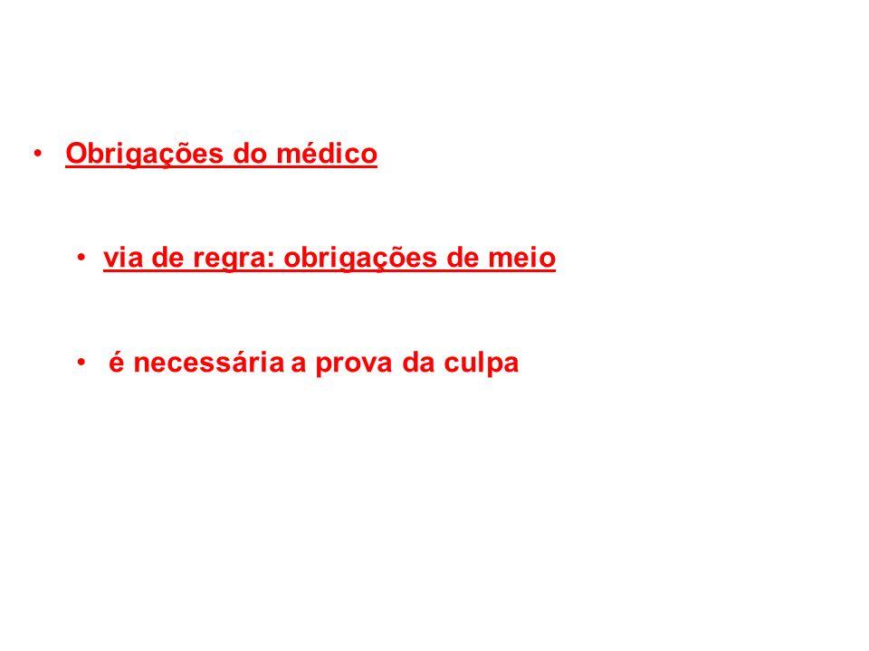Obrigações do médico via de regra: obrigações de meio é necessária a prova da culpa