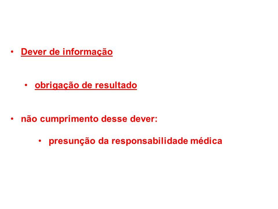 Dever de informação obrigação de resultado não cumprimento desse dever: presunção da responsabilidade médica