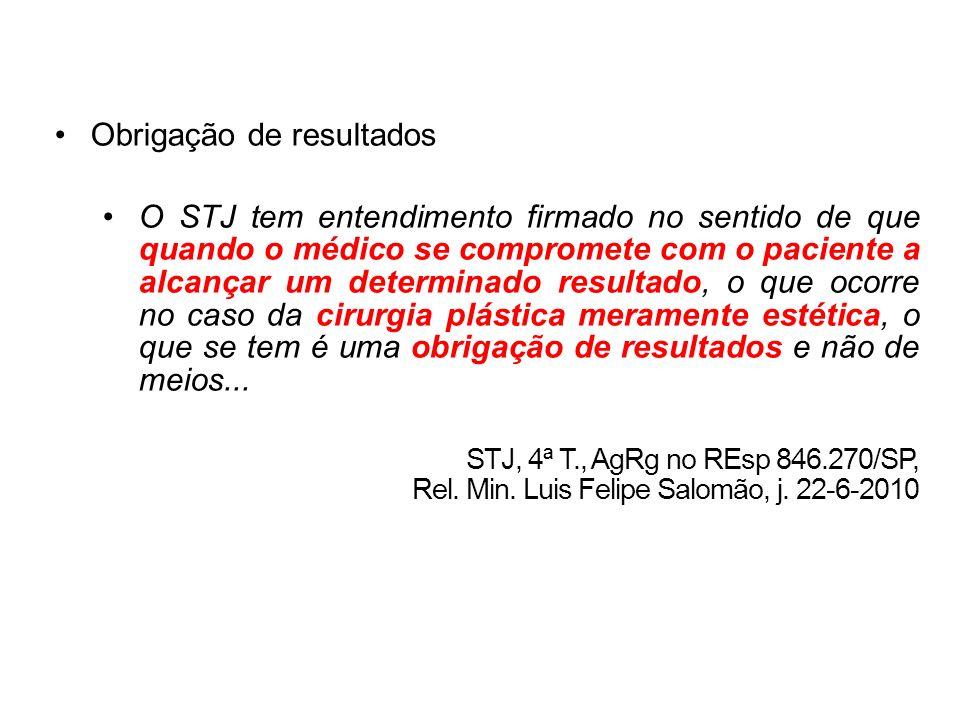 Obrigação de resultados O STJ tem entendimento firmado no sentido de que quando o médico se compromete com o paciente a alcançar um determinado result