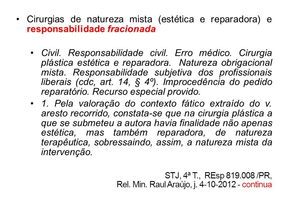 Cirurgias de natureza mista (estética e reparadora) e responsabilidade fracionada Civil. Responsabilidade civil. Erro médico. Cirurgia plástica estéti