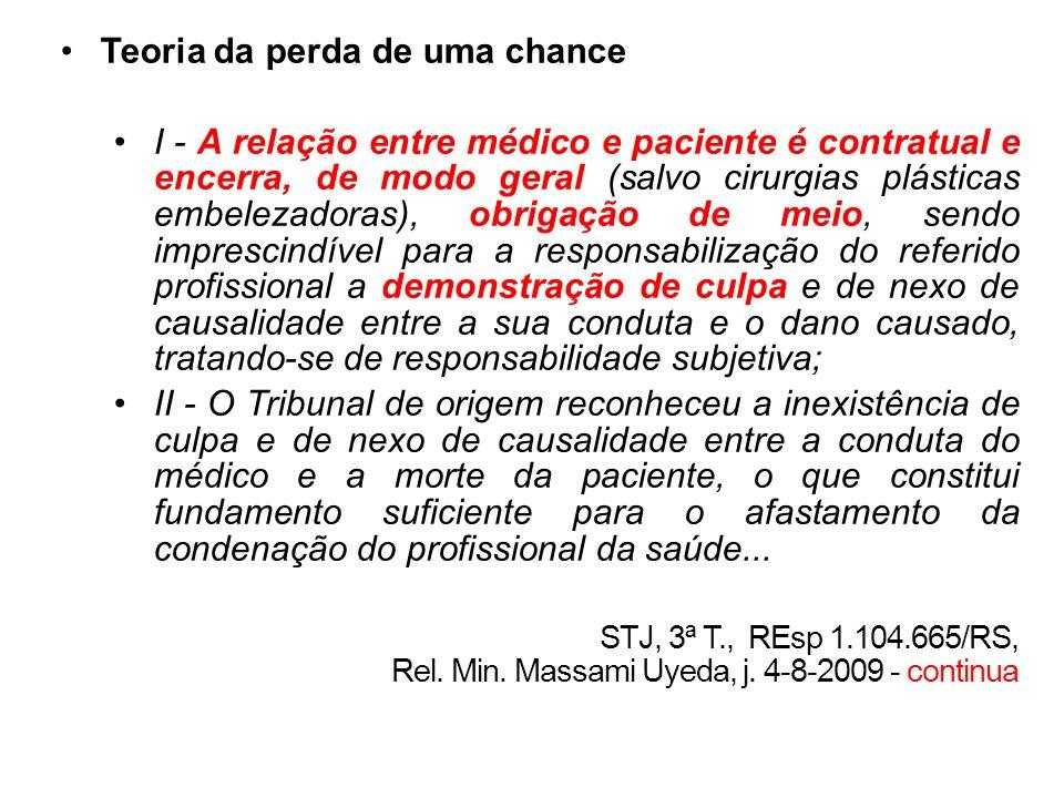 Teoria da perda de uma chance I - A relação entre médico e paciente é contratual e encerra, de modo geral (salvo cirurgias plásticas embelezadoras), o