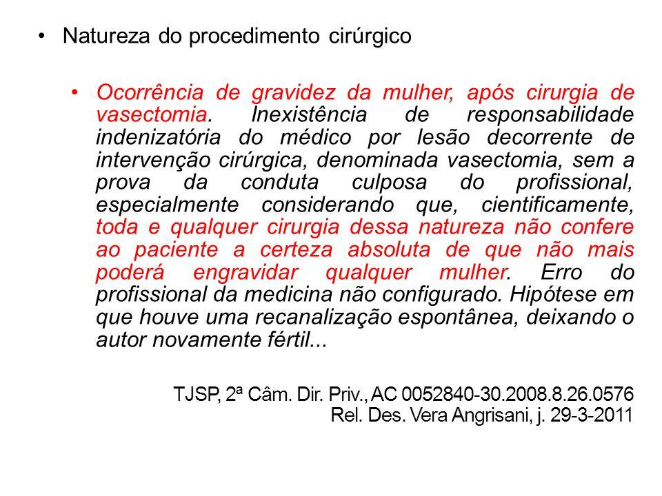 Natureza do procedimento cirúrgico Ocorrência de gravidez da mulher, após cirurgia de vasectomia. Inexistência de responsabilidade indenizatória do mé