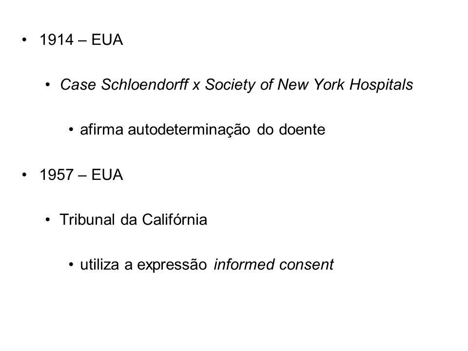 1914 – EUA Case Schloendorff x Society of New York Hospitals afirma autodeterminação do doente 1957 – EUA Tribunal da Califórnia utiliza a expressão i