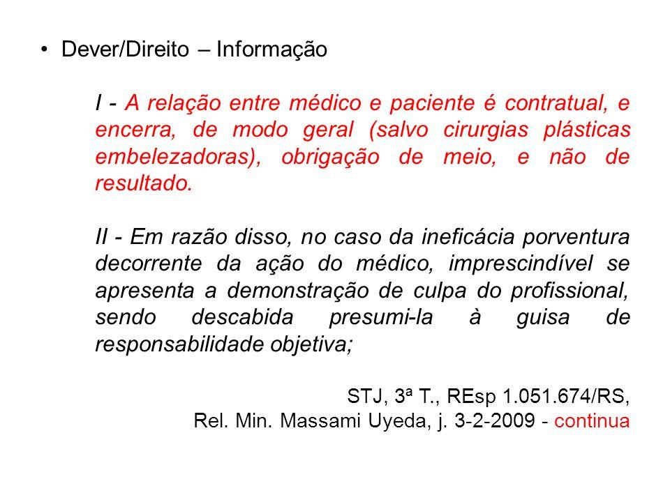 Dever/Direito – Informação I - A relação entre médico e paciente é contratual, e encerra, de modo geral (salvo cirurgias plásticas embelezadoras), obr