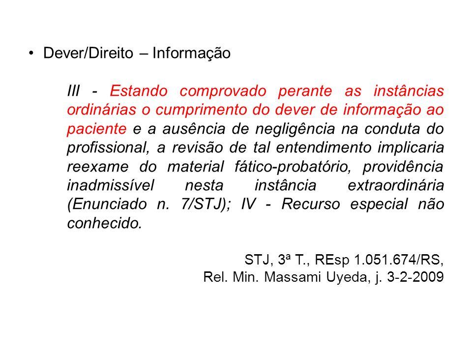 Dever/Direito – Informação III - Estando comprovado perante as instâncias ordinárias o cumprimento do dever de informação ao paciente e a ausência de