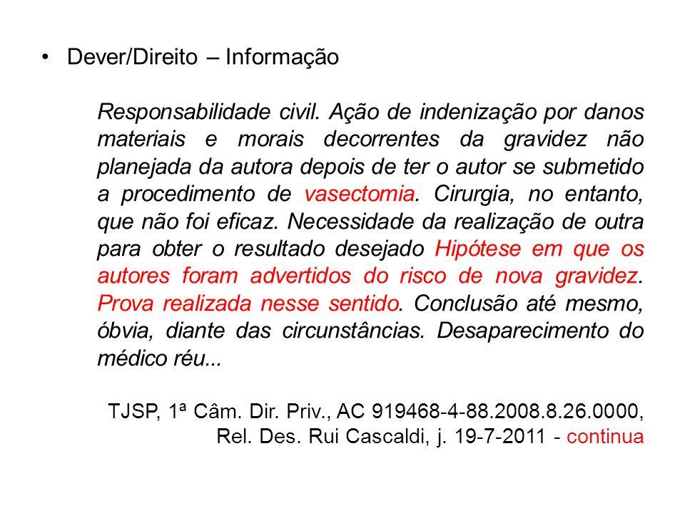 Dever/Direito – Informação Responsabilidade civil. Ação de indenização por danos materiais e morais decorrentes da gravidez não planejada da autora de