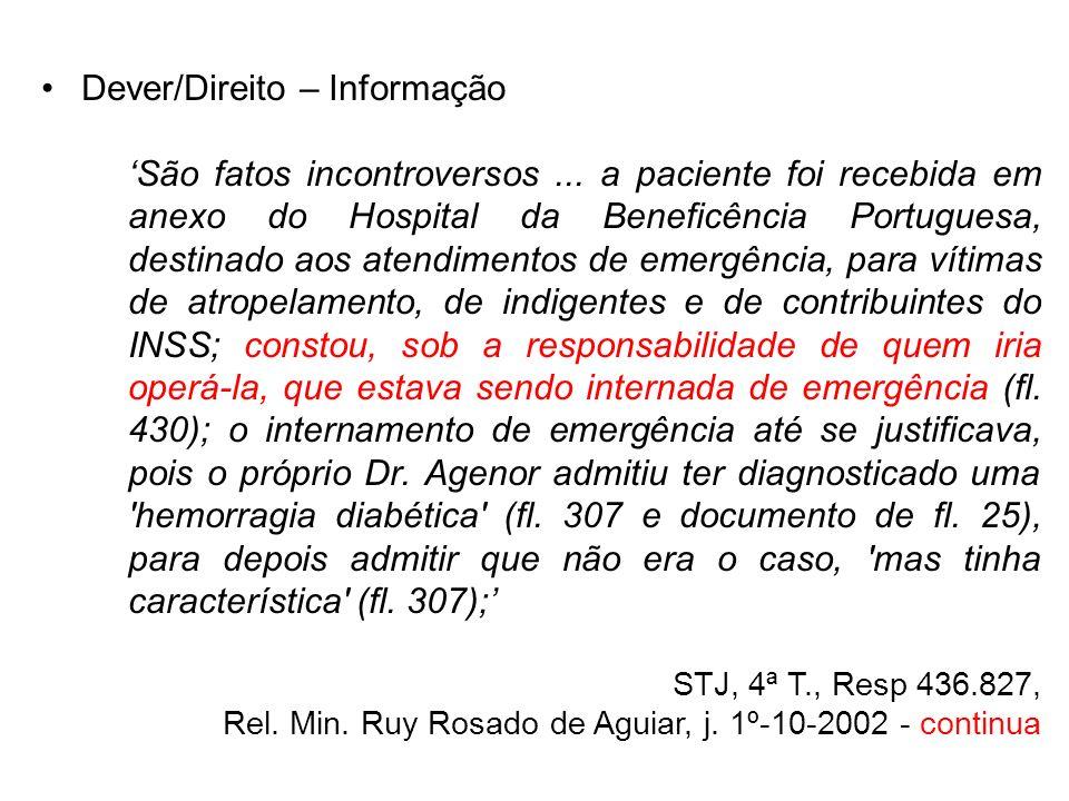 Dever/Direito – Informação São fatos incontroversos... a paciente foi recebida em anexo do Hospital da Beneficência Portuguesa, destinado aos atendime