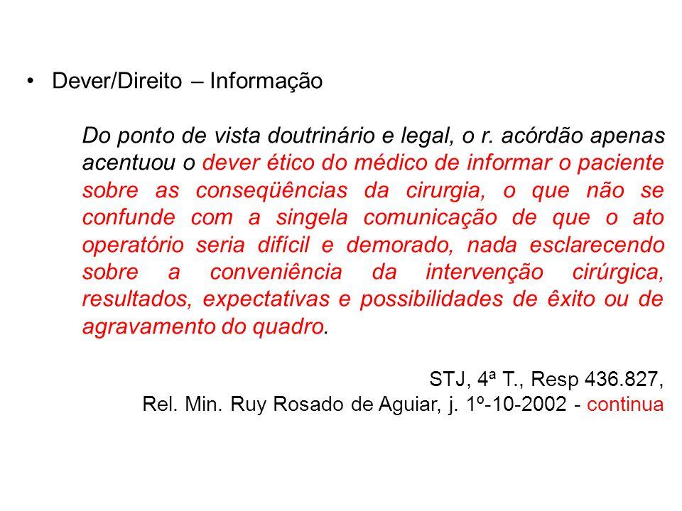 Dever/Direito – Informação Do ponto de vista doutrinário e legal, o r. acórdão apenas acentuou o dever ético do médico de informar o paciente sobre as
