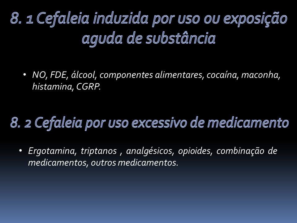 NO, FDE, álcool, componentes alimentares, cocaína, maconha, histamina, CGRP.