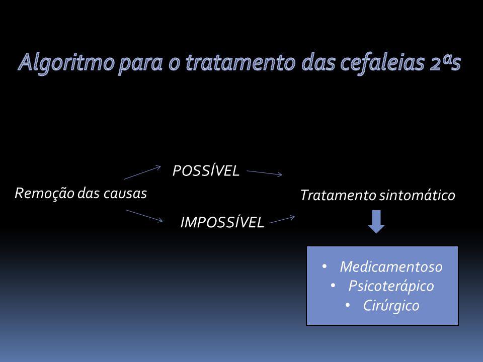Remoção das causas POSSÍVEL IMPOSSÍVEL Tratamento sintomático Medicamentoso Psicoterápico Cirúrgico