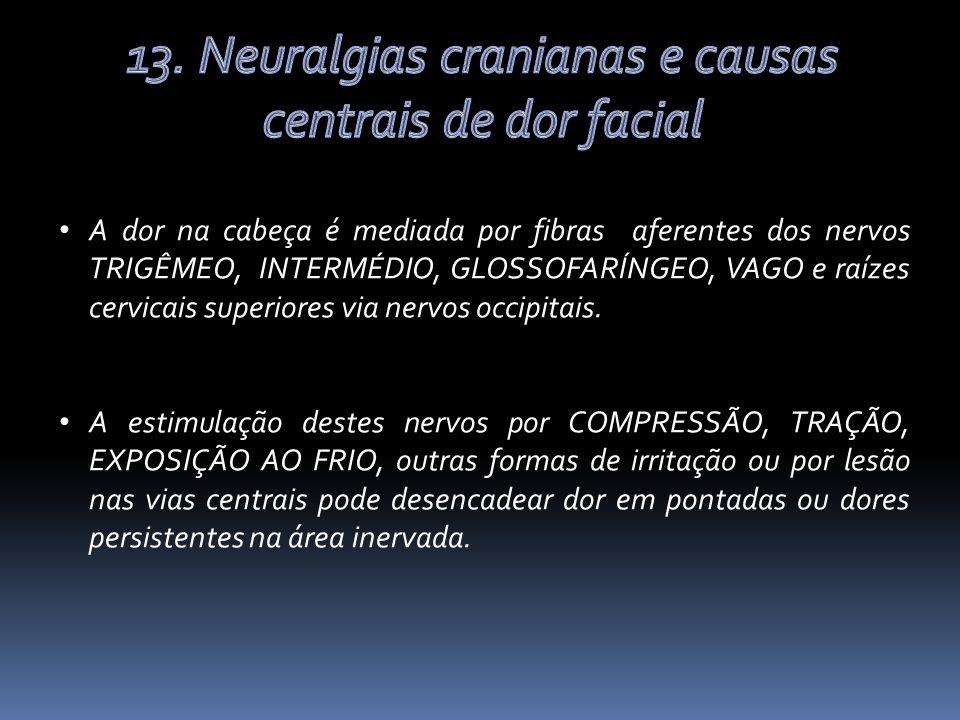 A dor na cabeça é mediada por fibras aferentes dos nervos TRIGÊMEO, INTERMÉDIO, GLOSSOFARÍNGEO, VAGO e raízes cervicais superiores via nervos occipitais.