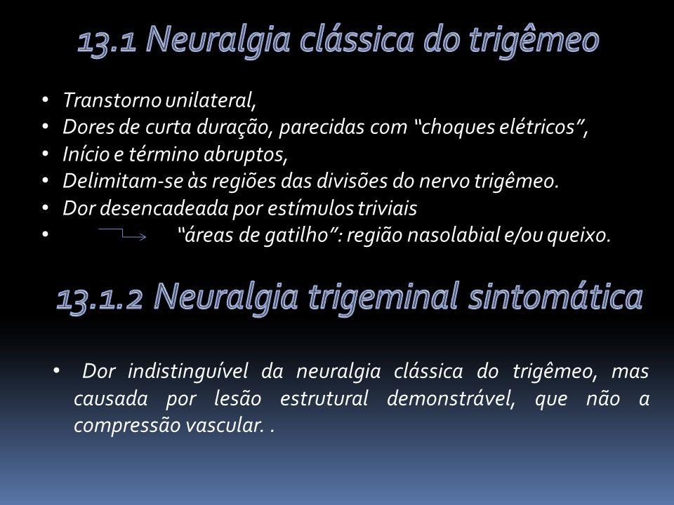 Transtorno unilateral, Dores de curta duração, parecidas com choques elétricos, Início e término abruptos, Delimitam-se às regiões das divisões do nervo trigêmeo.