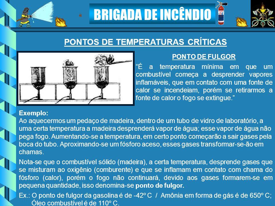 BRIGADA DE INCÊNDIO PONTO DE FULGOR É a temperatura mínima em que um combustível começa a desprender vapores inflamáveis, que em contato com uma fonte