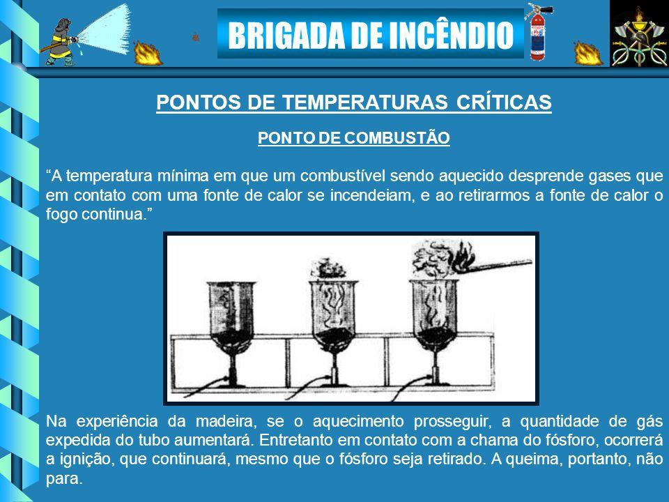 BRIGADA DE INCÊNDIO PONTO DE COMBUSTÃO A temperatura mínima em que um combustível sendo aquecido desprende gases que em contato com uma fonte de calor