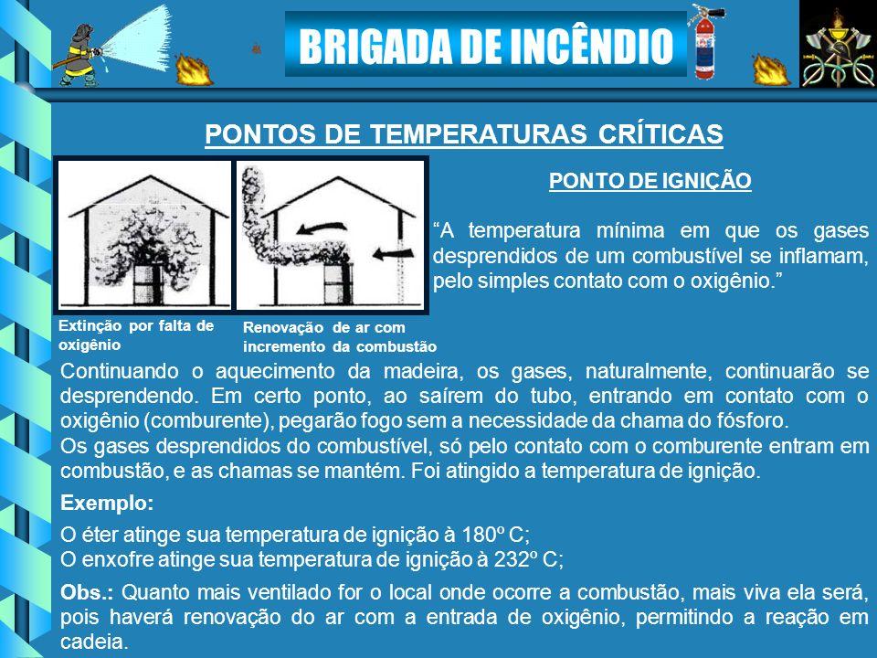 BRIGADA DE INCÊNDIO PONTO DE IGNIÇÃO A temperatura mínima em que os gases desprendidos de um combustível se inflamam, pelo simples contato com o oxigê