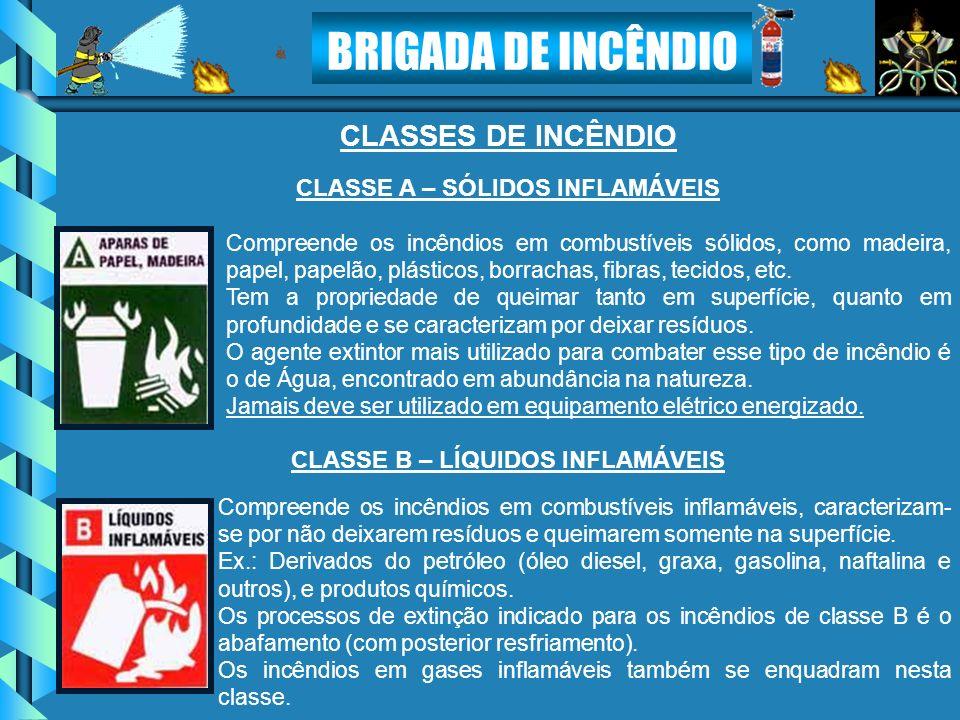 BRIGADA DE INCÊNDIO CLASSES DE INCÊNDIO Compreende os incêndios em combustíveis sólidos, como madeira, papel, papelão, plásticos, borrachas, fibras, t