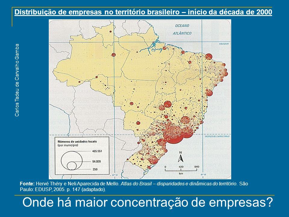 Distribuição de empresas no território brasileiro – início da década de 2000 Fonte: Hervé Théry e Neli Aparecida de Mello. Atlas do Brasil – disparida