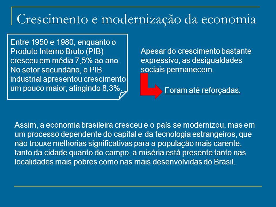 Crescimento e modernização da economia Entre 1950 e 1980, enquanto o Produto Interno Bruto (PIB) cresceu em média 7,5% ao ano. No setor secundário, o