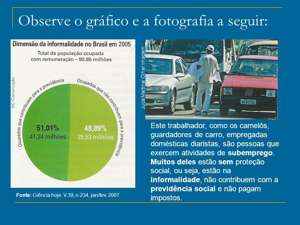 Observe o gráfico e a fotografia a seguir: Fonte: Ciência hoje. V.39, n 234, jan/fev. 2007. Este trabalhador, como os camelôs, guardadores de carro, e