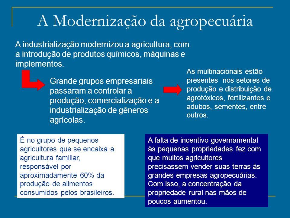 A Modernização da agropecuária A industrialização modernizou a agricultura, com a introdução de produtos químicos, máquinas e implementos. Grande grup