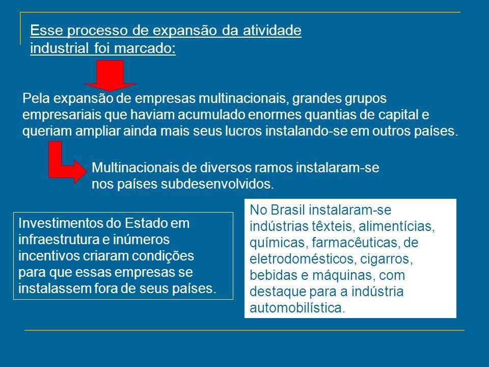 Esse processo de expansão da atividade industrial foi marcado: Pela expansão de empresas multinacionais, grandes grupos empresariais que haviam acumul