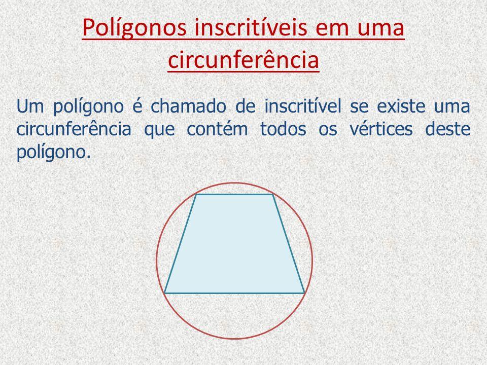 Polígonos inscritíveis em uma circunferência Um polígono é chamado de inscritível se existe uma circunferência que contém todos os vértices deste polí