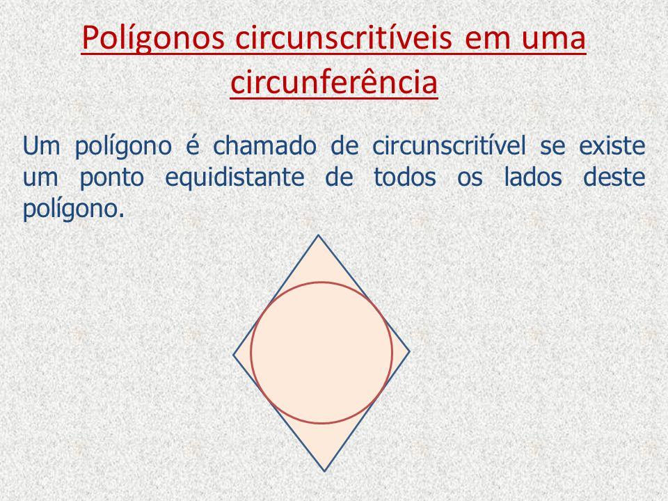 Polígonos circunscritíveis em uma circunferência Um polígono é chamado de circunscritível se existe um ponto equidistante de todos os lados deste polí