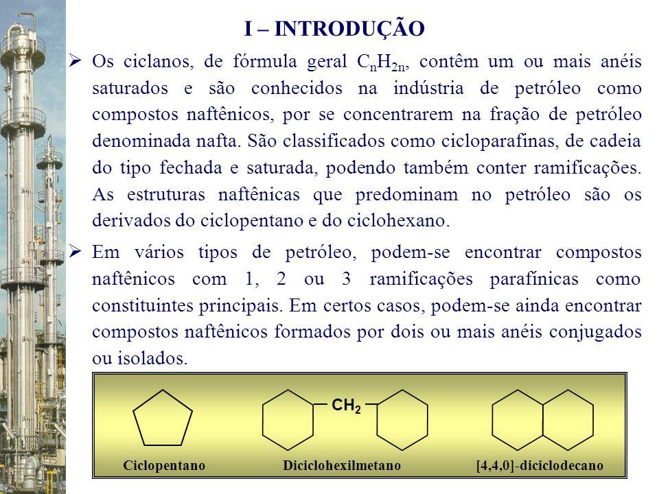 Os ciclanos, de fórmula geral C n H 2n, contêm um ou mais anéis saturados e são conhecidos na indústria de petróleo como compostos naftênicos, por se