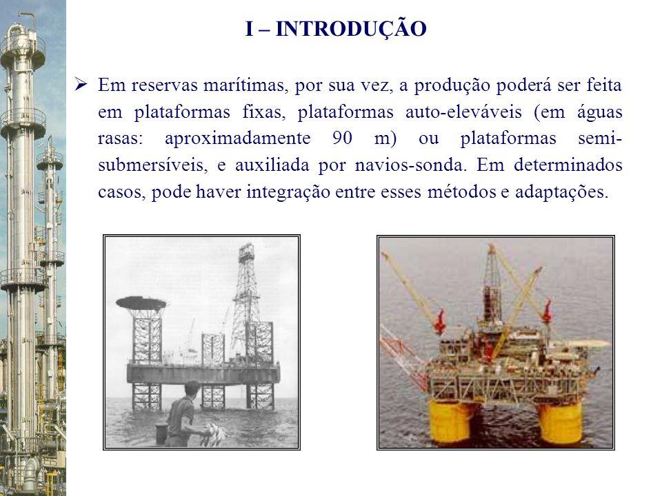Em reservas marítimas, por sua vez, a produção poderá ser feita em plataformas fixas, plataformas auto-eleváveis (em águas rasas: aproximadamente 90 m
