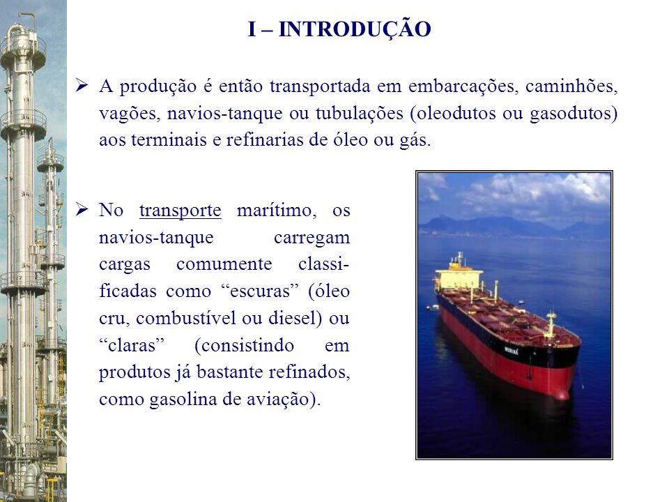 A produção é então transportada em embarcações, caminhões, vagões, navios-tanque ou tubulações (oleodutos ou gasodutos) aos terminais e refinarias de