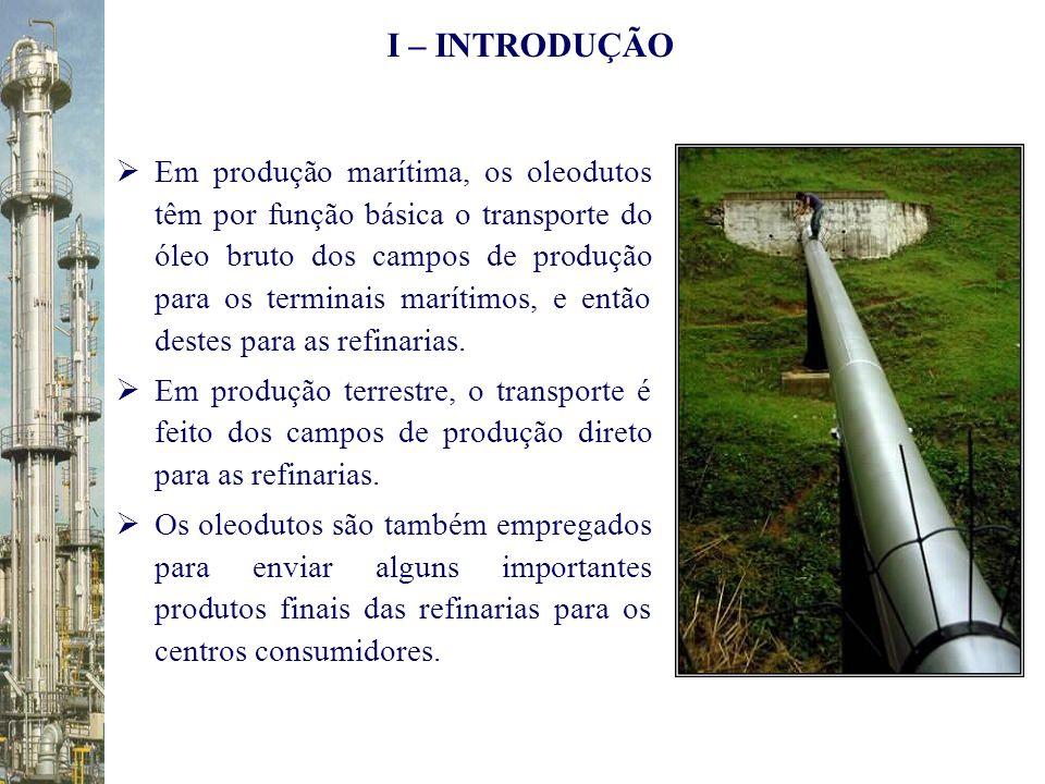 Em produção marítima, os oleodutos têm por função básica o transporte do óleo bruto dos campos de produção para os terminais marítimos, e então destes