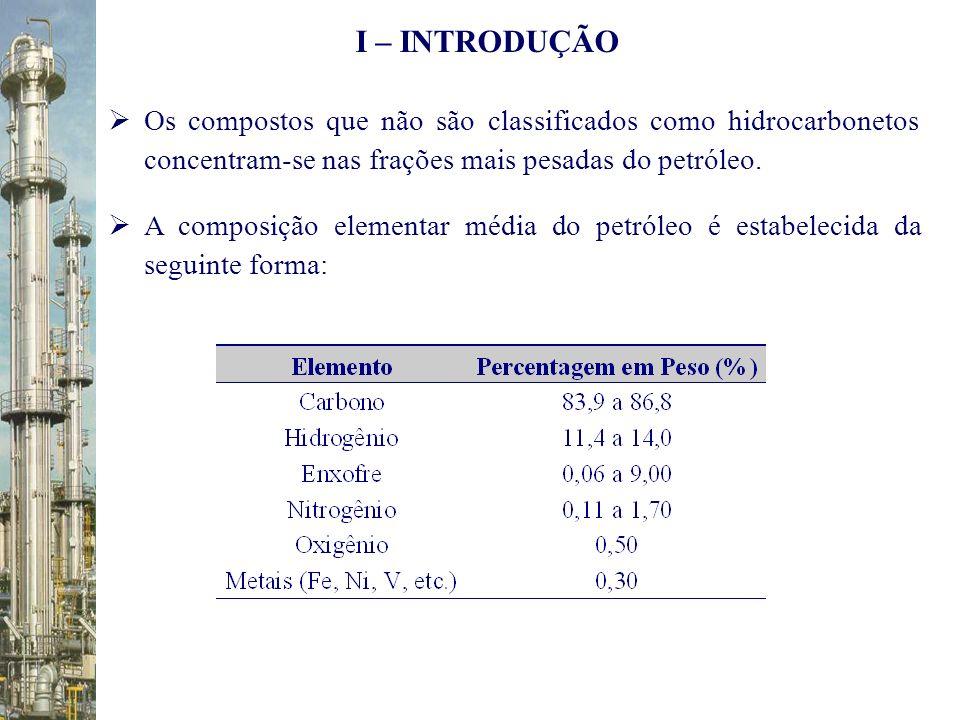 Petróleos Leves: acima de 30°API ( < 0,72 g / cm 3 ) Petróleos Médios: entre 21 e 30°API Petróleos Pesados: abaixo de 21°API ( > 0,92 g / cm 3 ) Petróleos Doces (sweet): teor de enxofre < 0,5 % de sua massa Petróleos Ácidos (sour): teor de enxofre > 0,5 % em massa I – INTRODUÇÃO Dessa forma, uma amostra de petróleo pode ser classificada segundo o grau de densidade API, como segue: Segundo o teor de enxofre da amostra, tem-se a seguinte classificação para o óleo bruto: