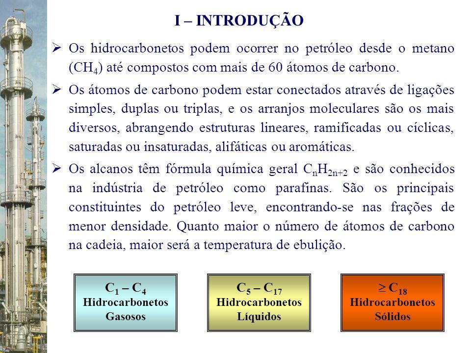 Os hidrocarbonetos podem ocorrer no petróleo desde o metano (CH 4 ) até compostos com mais de 60 átomos de carbono. Os átomos de carbono podem estar c