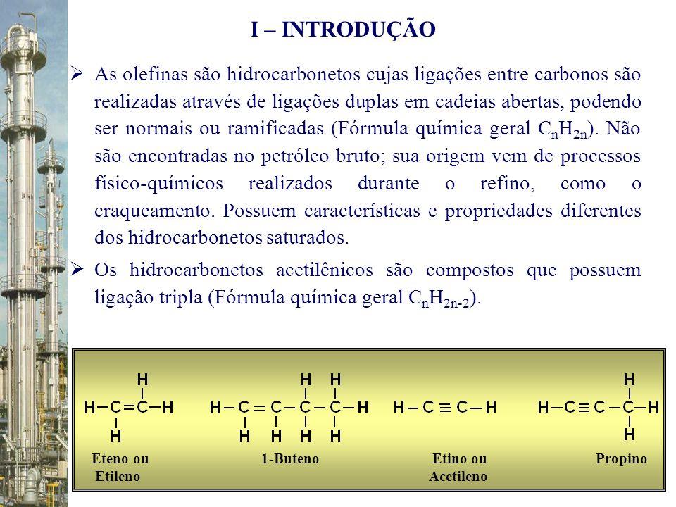 As olefinas são hidrocarbonetos cujas ligações entre carbonos são realizadas através de ligações duplas em cadeias abertas, podendo ser normais ou ram