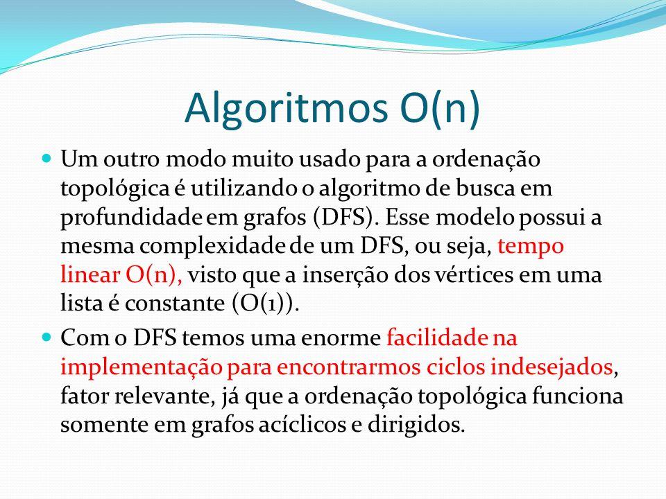 Algoritmos O(n) Um outro modo muito usado para a ordenação topológica é utilizando o algoritmo de busca em profundidade em grafos (DFS). Esse modelo p