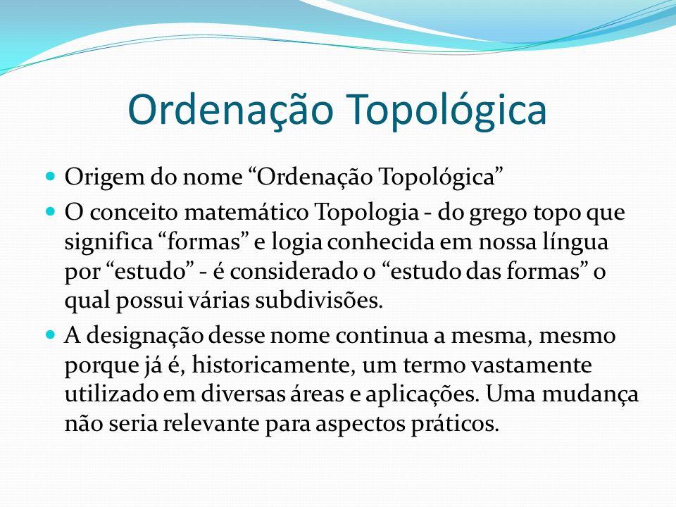 Ordenação Topológica Origem do nome Ordenação Topológica O conceito matemático Topologia - do grego topo que significa formas e logia conhecida em nos