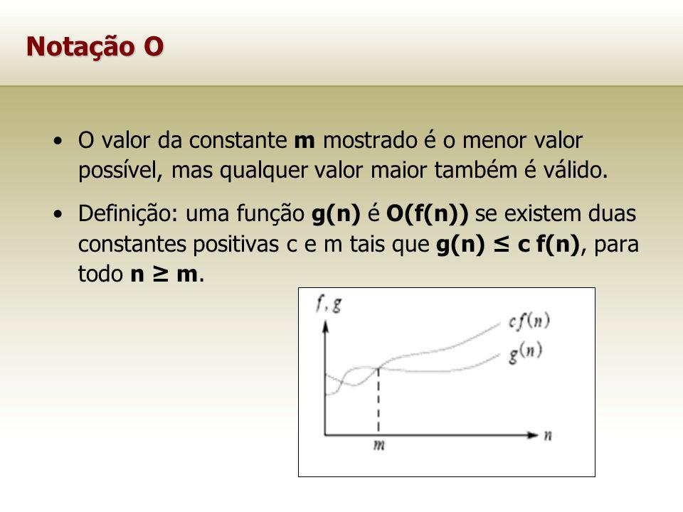 Notação O O valor da constante m mostrado é o menor valor possível, mas qualquer valor maior também é válido. Definição: uma função g(n) é O(f(n)) se
