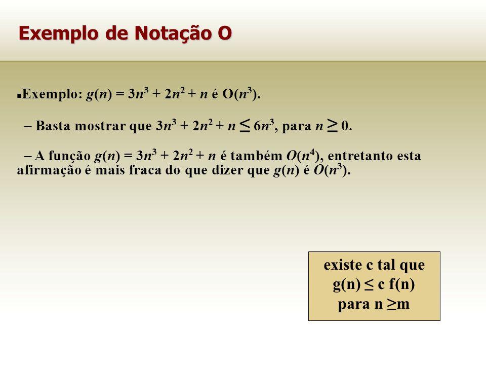 Exemplo: g(n) = 3n 3 + 2n 2 + n é O(n 3 ). – Basta mostrar que 3n 3 + 2n 2 + n 6n 3, para n 0. – A função g(n) = 3n 3 + 2n 2 + n é também O(n 4 ), ent