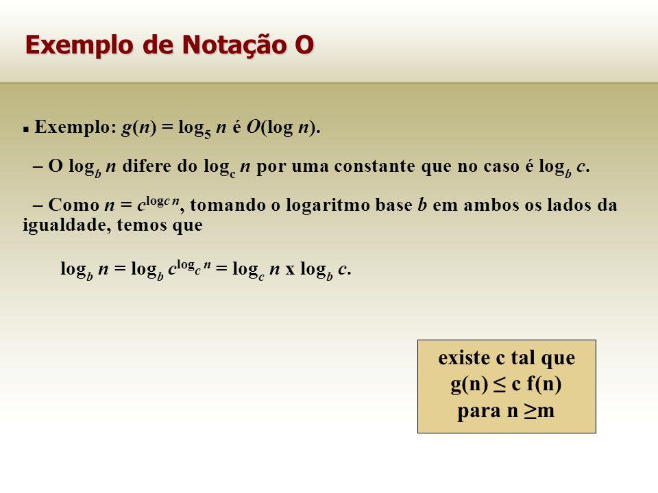 Exemplo: g(n) = log 5 n é O(log n). – O log b n difere do log c n por uma constante que no caso é log b c. – Como n = c logc n, tomando o logaritmo ba