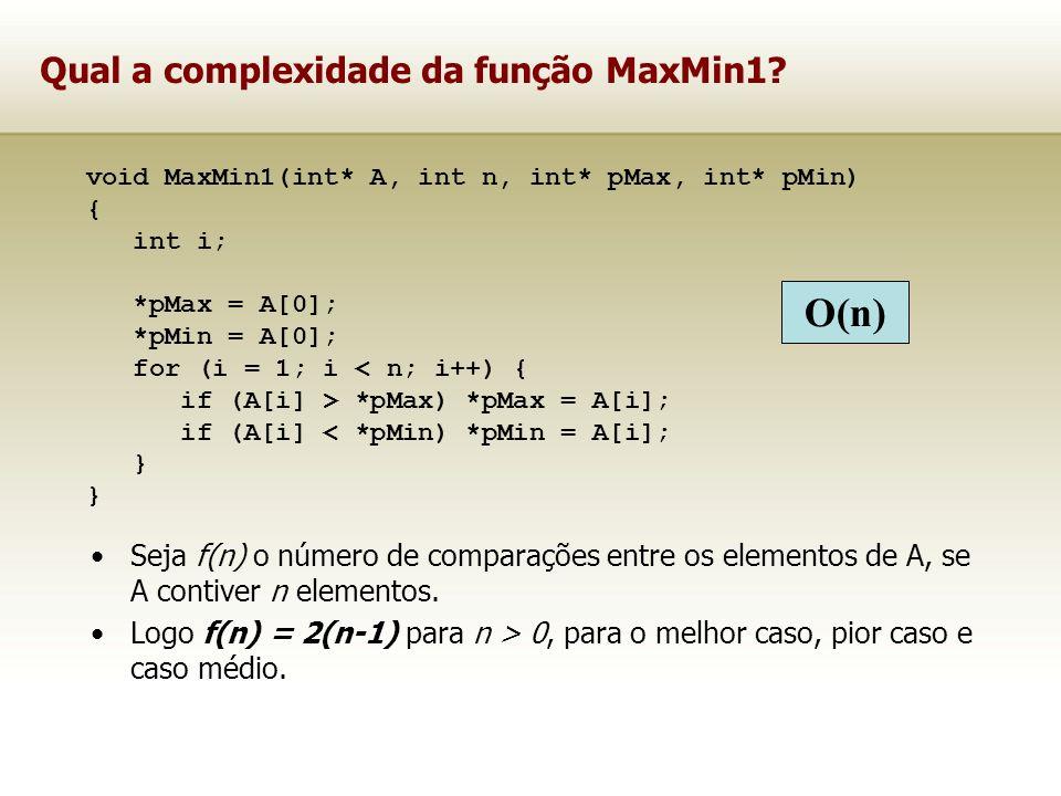 Qual a complexidade da função MaxMin1? Seja f(n) o número de comparações entre os elementos de A, se A contiver n elementos. Logo f(n) = 2(n-1) para n