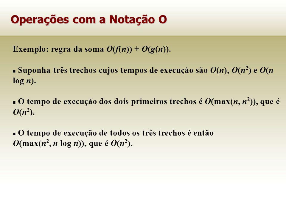 Exemplo: regra da soma O(f(n)) + O(g(n)). Suponha três trechos cujos tempos de execução são O(n), O(n 2 ) e O(n log n). O tempo de execução dos dois p
